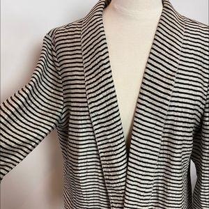 🌼Ann Taylor Loft stripe linen black tan 14